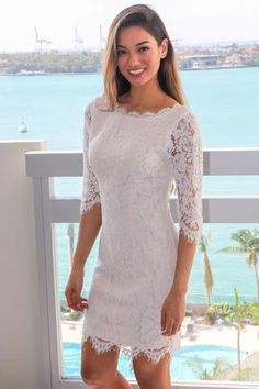 7daea8480e71 Ivory Lace Short Dress with 3 4 Sleeves Shift Wedding Dress