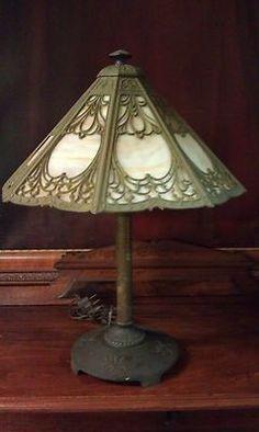 1900 19 Bradley Hubbard Caramel Slag w Art Nouveau Overlay Antique Lamp   eBay