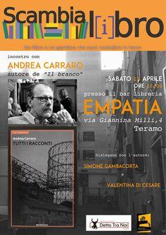 Andrea Carraro ospite a Scambialibro di aprile a Teramo