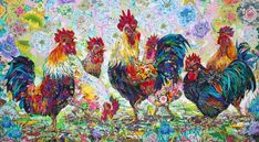 Roosters' Party Art Quilt  Danny Amazonas
