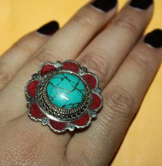 Nepalese Tibetan Coral ring Turquoise Ring Tibetan by goldenlines