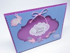 Handmade Easter cards - Easter Bunny Shaker cards - bunnies - Easter eggs - Happy Easter - purple and blue by Wcards on Etsy