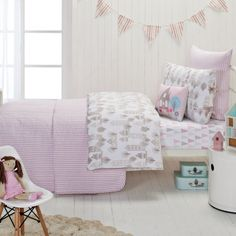Designers Choice Junior | Cameron Pink Quilted Coverlet teamed with Priya Quilt Cover Set