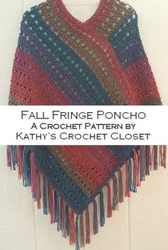 Crochet Poncho PATTERN - Fall Fringe Poncho - Poncho with Fringe Pattern - Yarn Cake Poncho Pattern - Easy Crochet Poncho Modern Crochet Patterns, Crochet Poncho Patterns, Crochet Fringe, Easy Crochet, Crochet Tops, Yarn Cake, Crochet Accessories, Single Crochet, Crochet Clothes