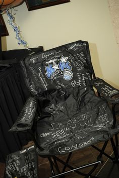 Sign-in Chair, Bar Mitzvah Sports Theme {A Magic Moment} - mazelmoments.com