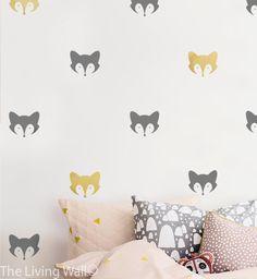 Fox Wall Pattern, Fox wall art for boy room, Fox Mask Wall Decal by LivingWall on Etsy https://www.etsy.com/listing/258981057/fox-wall-pattern-fox-wall-art-for-boy