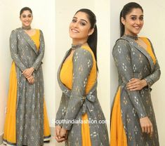 At the audio launch of Banthi Poola Janaki, actress Regina Cassandra looked gorgeous in a mustard and grey anarkali. Stylish Dress Designs, Dress Neck Designs, Designs For Dresses, Stylish Dresses, Designer Party Wear Dresses, Kurti Designs Party Wear, Indian Designer Outfits, Muslim Fashion, India Fashion