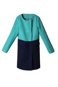 Collarless Color Block Wool-blend Coat (142$)  http://www.oasap.com/coats-jackets/24481-collarless-color-block-wool-blend-coat.html