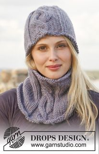 """Monica - Knitted DROPS hat and neck warmer with cable in """"Eskimo"""". - Free pattern by DROPS Design"""