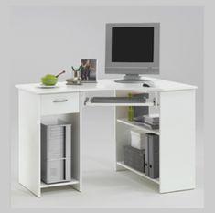 Felix home office wooden corner computer desk in white - 14808 home & office computer desk table, modern & contemporary. White Corner Desk, White Desks, Small Computer Desk, Desk, White Furniture, Desk Furniture, Small Corner Desk, Desk With Drawers, Desk Storage