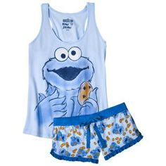 Sesame Street® Juniors Tank & Short Set - Cookie Monster from Target. Saved to Things I want as gifts. Cute Pjs, Cute Pajamas, Girls Pajamas, Lazy Day Outfits, Cool Outfits, Fashion Outfits, Lounge Outfit, Lounge Wear, Cookie Monster Pajamas