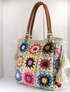 """SALE Crochet granny squares handbag with tassels and genuine leather handles, Crochet Bag, Tote Bag, Boho Style Bag, Summer Bag"" Crochet Purse Patterns, Crochet Tote, Crochet Handbags, Crochet Purses, Knit Crochet, Crochet Granny, Granny Square Bag, Granny Squares, Crochet Squares"