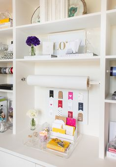 Adorable gift wrap station!