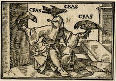 De eo qui exceptiones quaerit ad emendandum se (Of those who seek exceptiones to perfect themselves) DescriptionThree crows perched on the hands and head of a seated fool; illustration to a Latin edition of Sebastian Brant's 'Ship of Fools', probably that printed by Petri in Basel in 1572. c.1568-72 Woodcut
