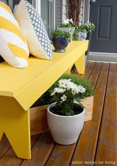 A furniture piece with a bit of character, like this yellow bench, and throw pillows in varying prints and colors add a bit of cottage charm to your front porch. Via @Shauna (VI Fit Network) (VI Fit Network) Oberg @ Satori Design