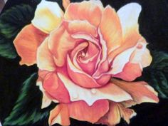Original Rose Drawing, Colored Pencil Painting, Yellow Rose Picture, Oval frame 8x10. $85.00, via Etsy.