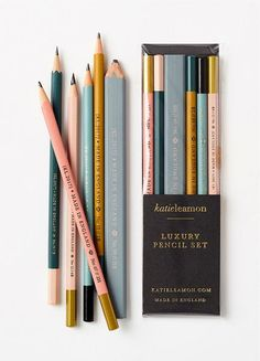 Utility style pencils, in a variety of grades in a pretty set form Katie Leamon. The assortment includes a carpenter flat HB pencil as well as one of each grade