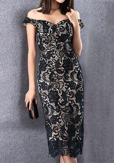 Black Lace Sweetheart Off-Shoulder Dress