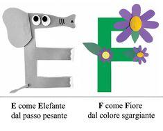 Alfabeto...in rima Preschool Letter Crafts, Abc Crafts, Alphabet Crafts, Kindergarten Crafts, Letter A Crafts, Montessori Activities, Preschool Activities, Italian Alphabet, Art For Kids