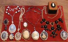 CAMEO JEWELRY LOT 12 PC'S PINS/NECKLACES/RING BOX/PENDANTS/LOCKETS
