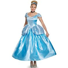 Disney Princess Prestige Cinderella Costume For Women (6,480 DOP) ❤ liked on Polyvore featuring costumes, halloween costumes, cinderella fairy godmother costume, womens princess costume, cinderella costume, belle blue costume and blue fairy costume