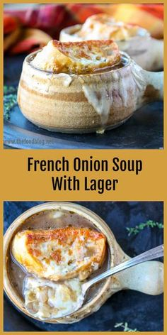 Beer takes this French Onion soup to a delicious new level.Carmelized onions in a beefy beef infused broth are topped with toasted french bread and melty Gruyere cheese. #soup #frenchonionsoup #onionsoup