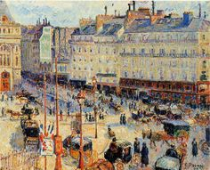Camille Pissarro (French, Impressionism, 1830-1903): Place du Havre, Paris; 1893. Oil on canvas, 60.1 x 73.5 cm. Art Institute of Chicago, Chicago, Illinois, USA.