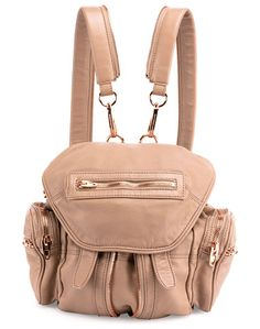 "Mini marti leather backpack by Alexander Wang. Alexander Wang washed lambskin backpack with rose golden hardware. Removable zip-apart shoulder straps, 15"" drop. Rem..."