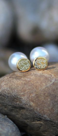 An update on the classic pearl and monogram! These Small Round Monogrammed Earrings with Pearl Backs are the must have fashion accessory for fall! #trendy