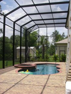 screened in porch and an indoor-outdoor feel for the pool. No chlorine smell, and no bugs. Small Indoor Pool, Pools For Small Yards, Outdoor Pool, Indoor Outdoor, Indoor Pools, Pool Backyard, Outdoor Living, Swimming Pool Designs, Swimming Pools