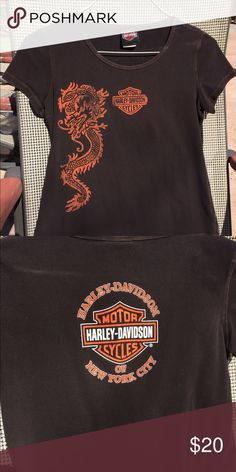 Harley Davidson T-shirt HD tshirt.  Brown with orange dragon design down right front side.  Rarely worn. Harley-Davidson Tops Tees - Short Sleeve