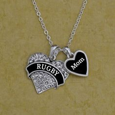 Custom Relationship Rugby Necklace, $9.98 //  Show your favorite fan how much you support them!  Can be changed to any relationship or name