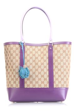 Gucci Ladies' Pom Pom Monogram Tote In Beige & Purple