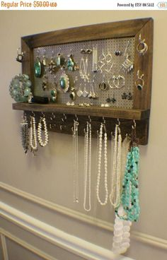 ON SALE Amazing Ash Stained Wall Mounted Jewelry Organizer