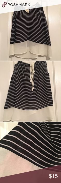NWOT Striped Flowy Tank This is a beautiful striped flowy see through top. It has never been worn. It ties on the back. Double Zero Tops Tank Tops