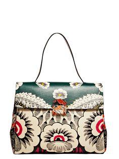 NEW SEASON - Valentino Womens Single Handle Floral Leather Bag