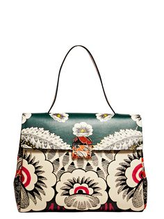 NEW SEASON - Valentino Womens Single Handle Floral Leather Bag