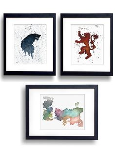 3 Game of Thrones Collection Watercolor - Fine Art Print