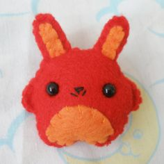 Red and Orange Felt Bunny Brooch on Etsy, $8.50