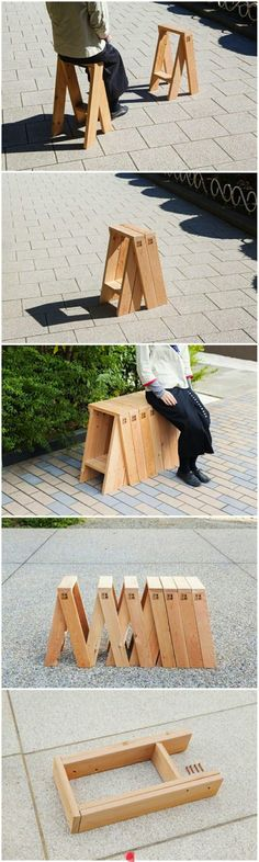 """thedesignwalker: """" S& """" Seems like this might be a nice saw horse design that would be stackable & foldable… Modular Furniture, Wood Furniture, Furniture Design, Folding Furniture, Space Furniture, Simple Furniture, Street Furniture, Furniture Plans, Modern Furniture"""