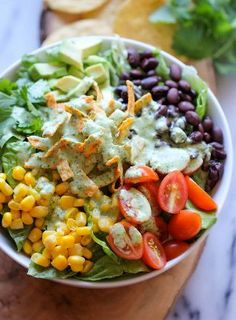 Southwestern Chopped Salad with Cilantro Lime Dressing | Recipes