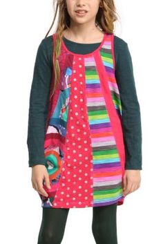 Girl's Malva dress. The pattern of this dress is lots of fun; it has long sleeves but looks like spaghetti straps over a T-shirt. The skirt is fun and they will love the cheerful pink drawings.