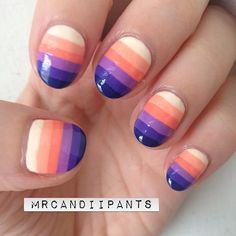 peach purple gradient stripe nail art  #fav Instagram photo by mrcandiipants