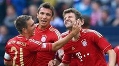 Thomas #Müller (FC Bayern München) Thomas Müller of FC Bayern München celebrates the second goal with team-mates during the German Bundesliga match against FC Schalke 04