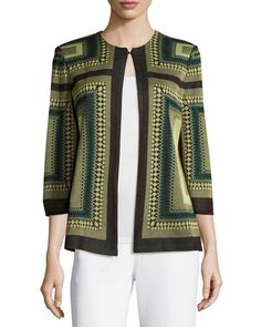 Misook Allegra Square-Print 3/4-Sleeve Jacket, Coffee/Peridot/Emerald, Women's, Size: S, Cpe