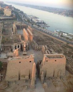 Aerial View of Luxor Temple Complex. East bank of the Nile River. Riverboat cruisers docked at the bank. Reminder of my fantastic voyage.