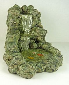 Dollhouse Miniature Resin Stony Waterfall with Fish Pond