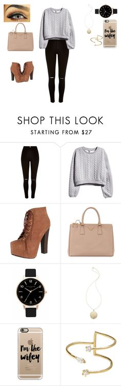 """""""Swaggg ✌️"""" by valerylucero ❤ liked on Polyvore featuring River Island, H&M, Breckelle's, Prada, Olivia Burton, House of Harlow 1960, Casetify and Jeweliq"""