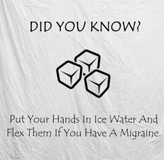 Life hack: put your hands in ice water and flex them if you have a migraine.