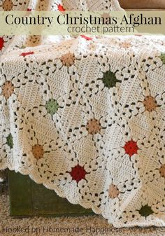Country Christmas Afghan Crochet Pattern - The Country Christmas Afghan Crochet .Country Christmas Afghan Crochet Pattern - The Country Christmas Afghan Crochet Pattern is one of my favorite blankets I've made. These granny squares are eas Crochet Motifs, Granny Square Crochet Pattern, Crochet Granny, Crochet Squares Afghan, Ripple Afghan, Ravelry Crochet, Afghan Blanket, Christmas Afghan, Crochet Christmas Blanket
